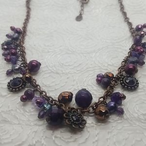 Cookie Lee Purple Beads Circle Bronze Necklace